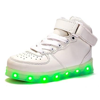 High Top USB cargador LED intermitente Moda Shoes Zapatillas de tenis para los niños traje Sneakers