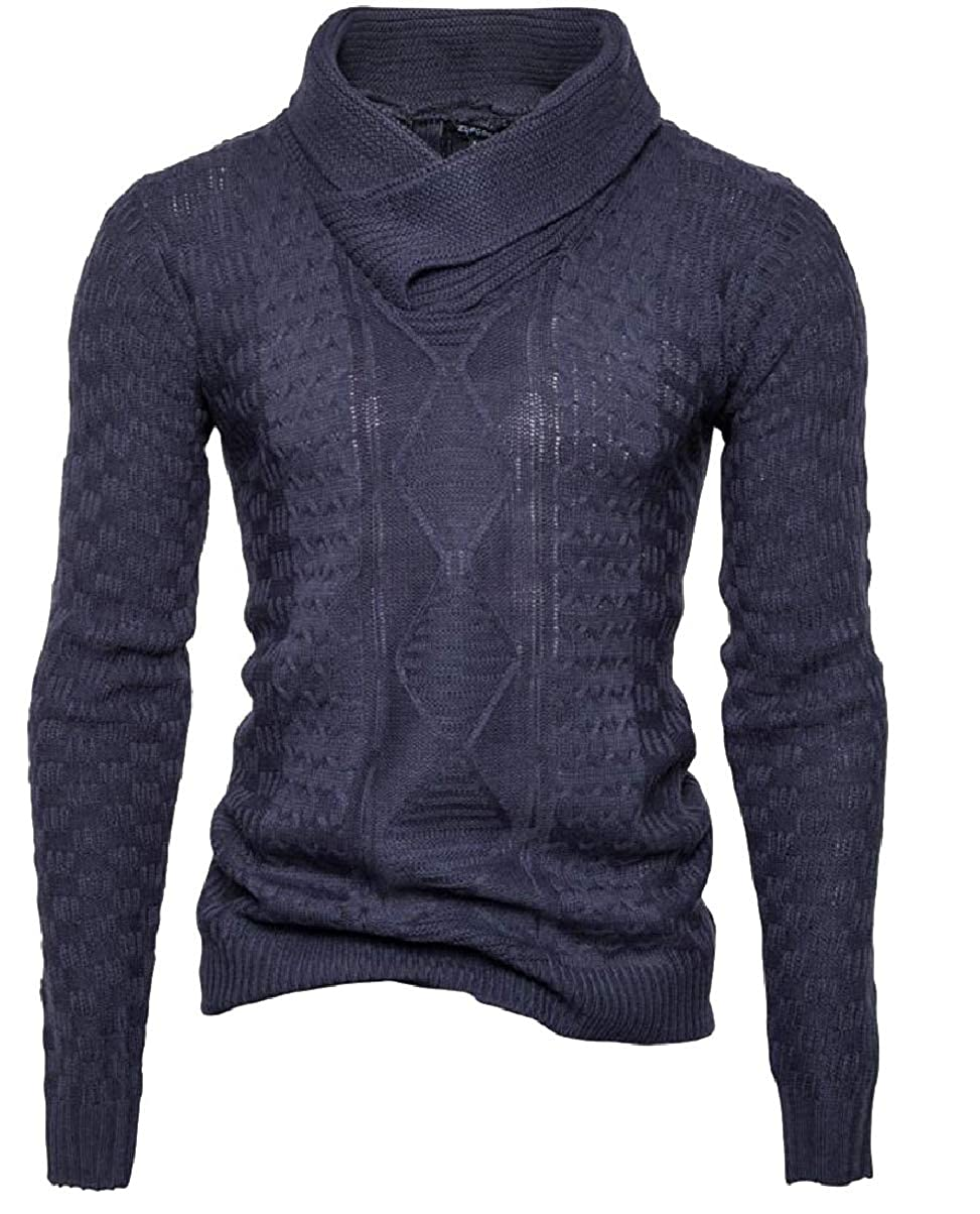 ZXFHZS Mens Winter Fall Turtleneck Knitted Solid Color Pullover Sweater Tops