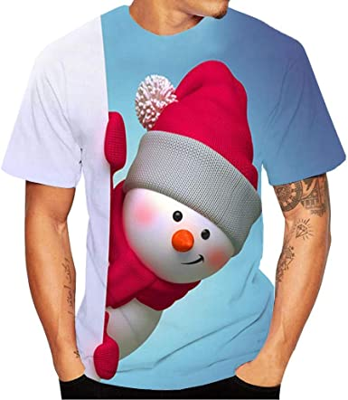 K-Youth Camiseta Hombre Navidad Ropa Adolescentes Chico Casual Parejas Blusa Mujer Navideños Chandal T Shirt Top Camisetas Manga Corta Hombre Deporte Camisas Hombres Tallas Grandes: Amazon.es: Ropa y accesorios