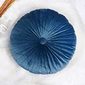 Zituop Round Pumpkin Luxury Decorative Pillows for Couch Sofa Bed Living Room Bedroom (Blue)