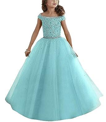 daec7206c Amazon.com  Lily Wedding Girls Off Shoulder Beading Pageant Princess ...