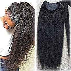 Full Shine 16 inch Kinky Straight 100% Human Hair Ponytail Extension for Woman 100g/Piece Color Natural Black