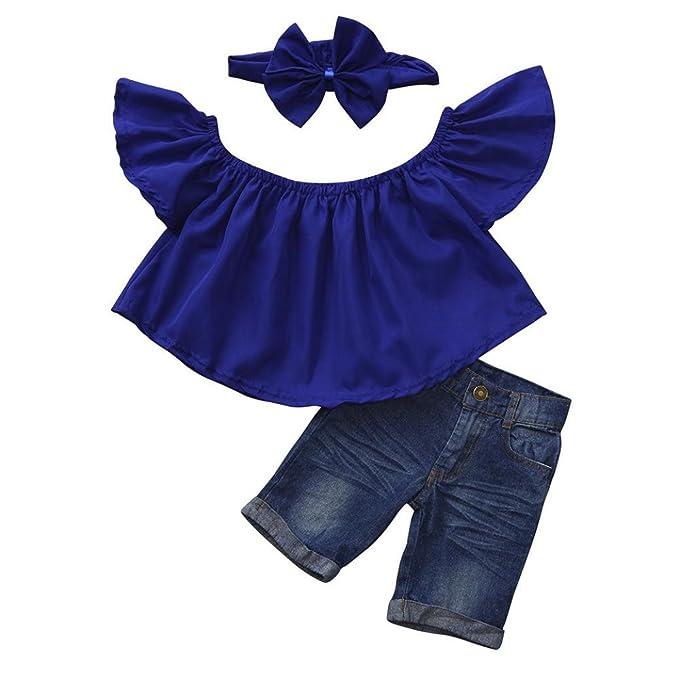 3PCS Toddler Kid Baby Girl Floral Off Shoulder Tops+Denim Shorts Pants+Headband