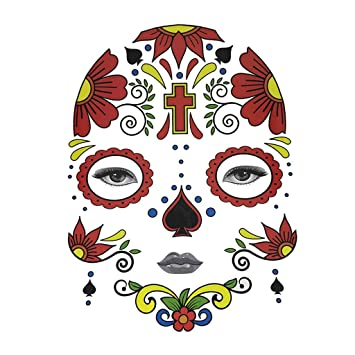 66e9336fe Buy Halloween Day of Dead Temporary Face Tattoo Kit Skull Cobweb Flower  Sticker - Cross, as described Online at Low Prices in India - Amazon.in