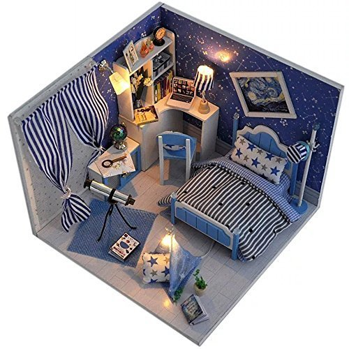 Flever Dollhouse Miniature DIY House Kit Creative Room With Furniture and Glass Cover for Romantic Artwork Gift( Dream of Star River (2057 Miniature)