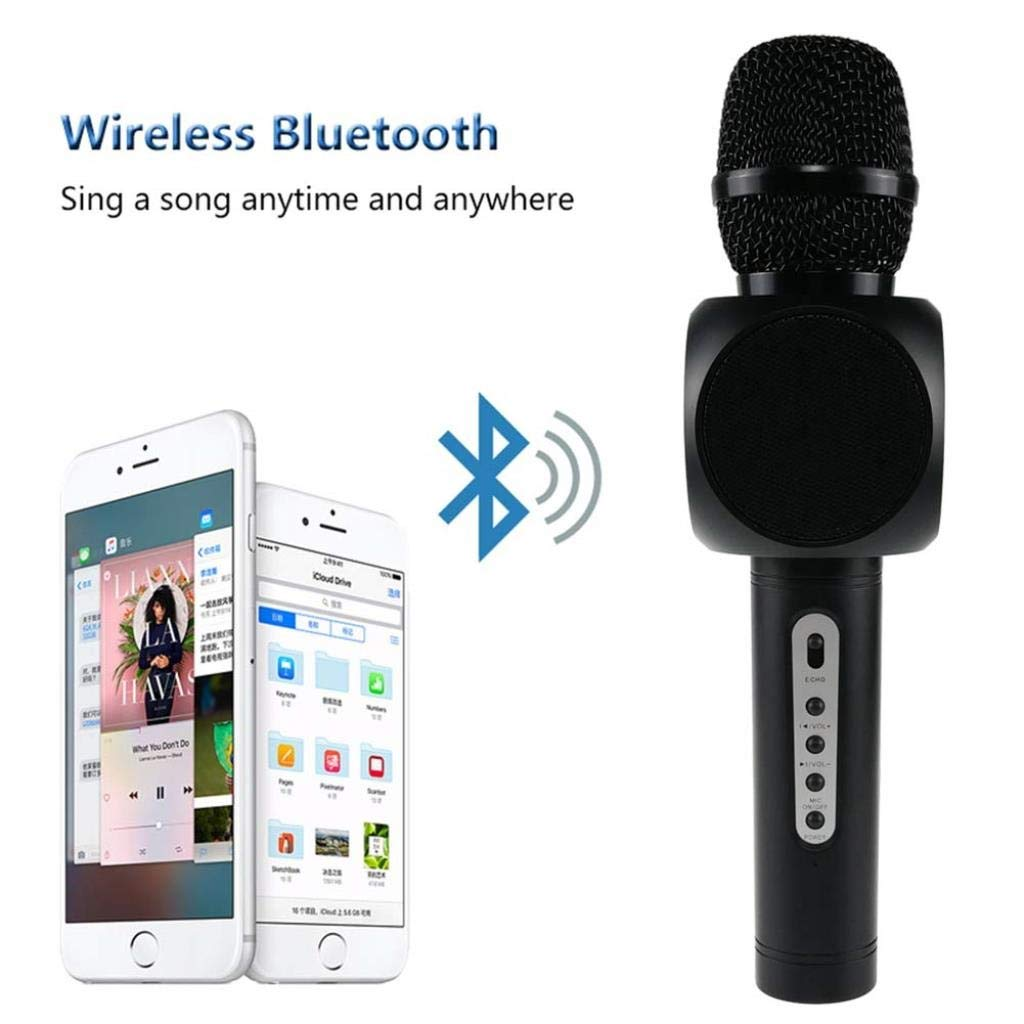 Wireless Microphone Condenser Karaoke Mic KTV Music Bluetooth Speaker Compatible with Android and iOS for Singging, Karaoke, Recording ( Color : Black ) by Rsiosle (Image #5)