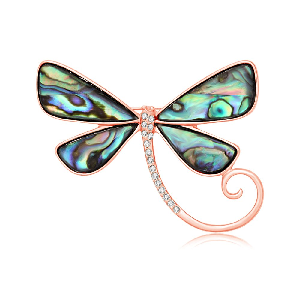SENFAI Dragonfly Abalone Shell Brooch Suit Lapel Pin Eyeglass Holder Wearable Art (Rose Gold)