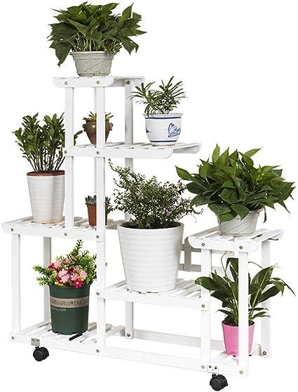 Blanco Estantería para Macetas Bastidor para Macetas Soporte para Flores y Planta Hierbas Exterior Interior Jardín Escalera Estantería de Madera ...