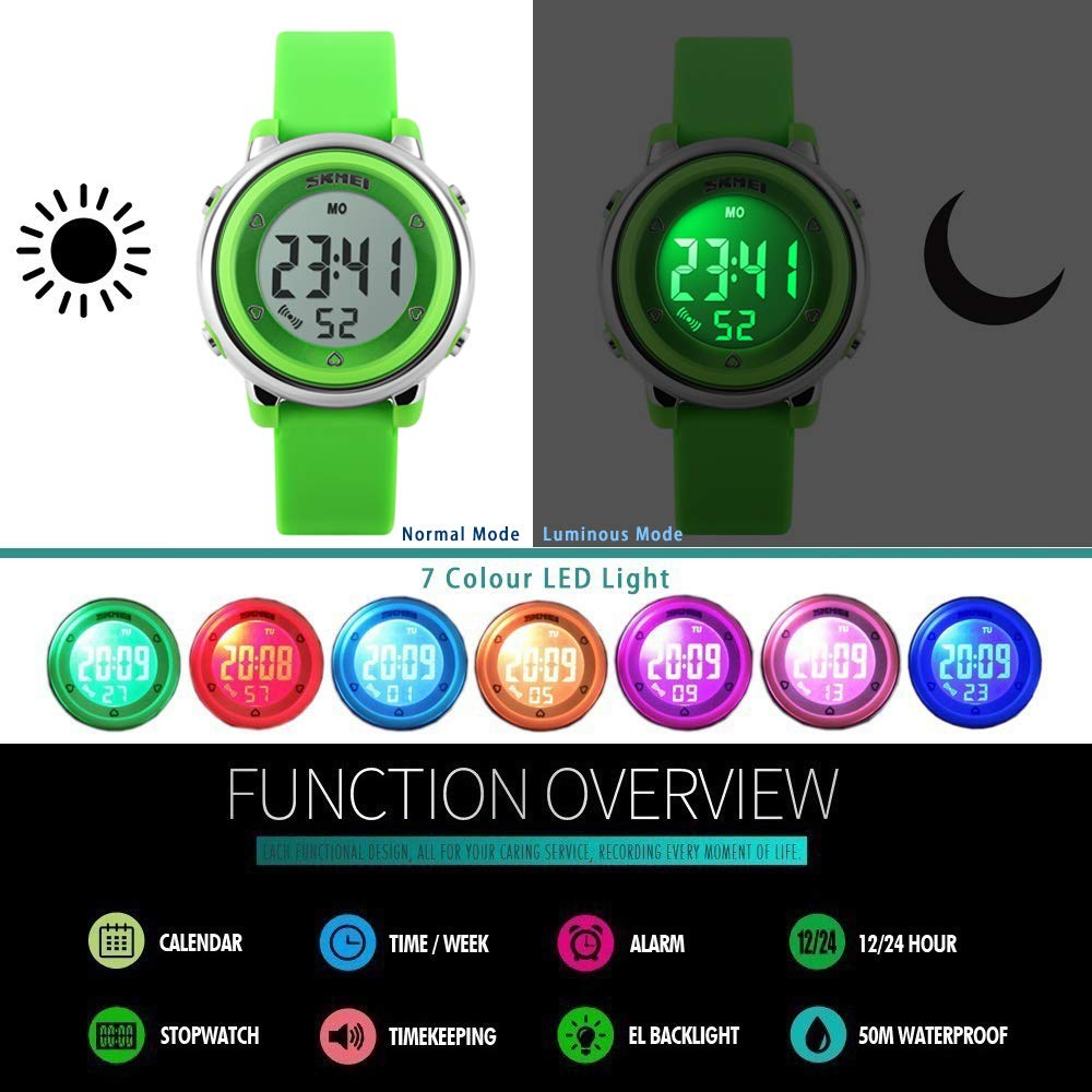 Amazon.com: FEIWEN Fashion Simple Digital Sports Watch for Boy Girl, 50M Waterproof Outdoor Multifunction Stopwatch Alarm Military 7 Multicolor LED ...