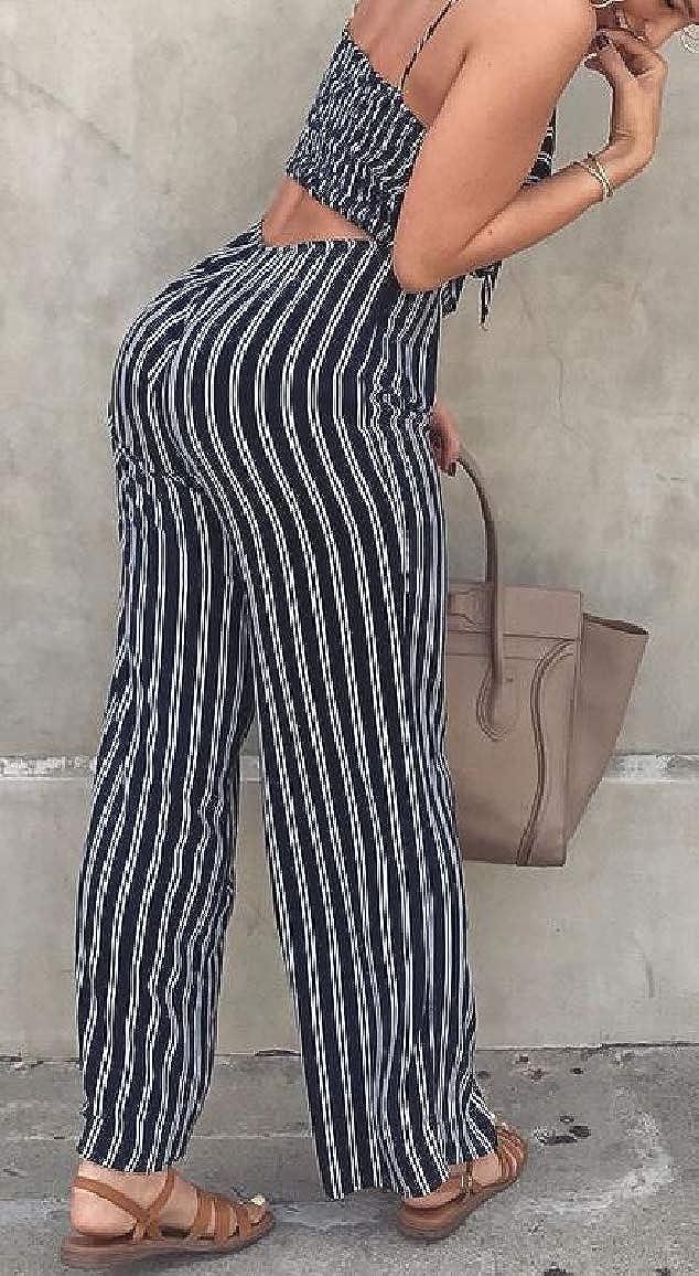 Jmwss QD Womens Spaghetti Straps Stripe Front Tie Jumpsuit Long Romper