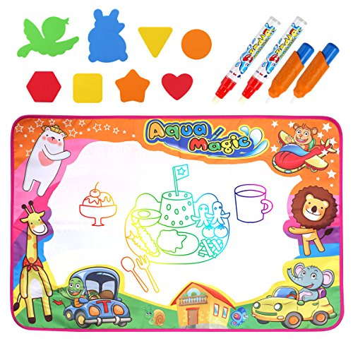 Homtable Large Aqua Magic Doodle Pad 34 x 22 inch, 6 Colors Water Drawing Mat Children Painting Board with 4 Water Pens and 8 Drawing Molds