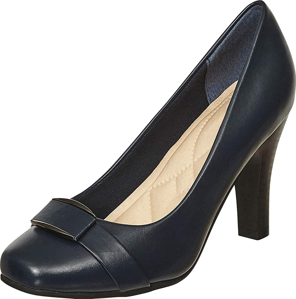 Navy Pu Cambridge Select Women's Square Toe Padded Comfort Tapered High Heel Pump