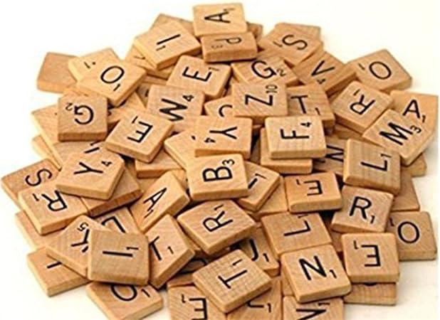 yesiidor alfabeto de madera Fichas de madera para Scrabble alfabeto manualidades niños educación juguetes aprendizaje Accessaries: Amazon.es: Hogar