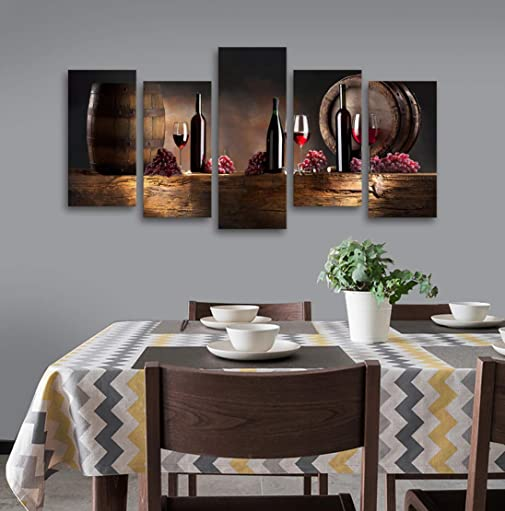 Baisuwallart-K60927 5 Pieces Kitchen Wall Decor Red Wine Cups HD Modern Framed Wall Art Fruit Grape Red Wine Glass Restaurant Canvas Prints Pictures Painting