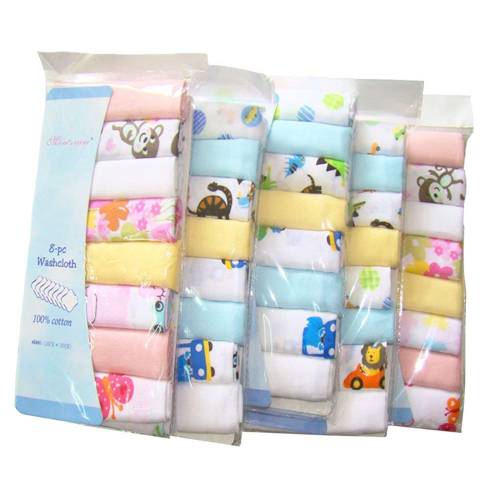 8 Pack Newborn Baby Muslin Washcloths Extra Soft 2 Layers Gauze Premium Natural Cotton Baby Drooling Nursing Towels 30x30cm Busy Mom