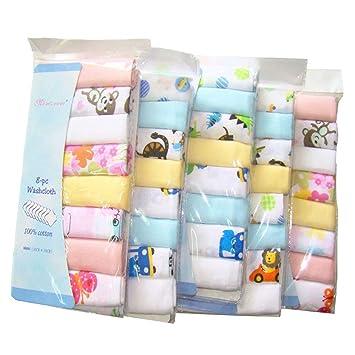 Pack de 8 paños de muselina extra suaves para recién nacido, 2 capas, algodón
