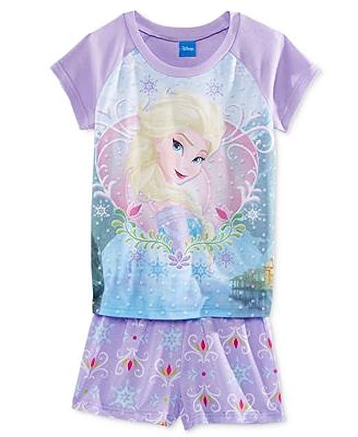 47916bc51b2e8 Amazon.com: Disney Frozen Queen Elsa Girl Pajama Shorts Set Size 8 ...