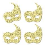 Gold Glitter Masks - No-Mess Real Gold Glitter Cut-Outs - Masquerade Mardi Gras Party Confetti - Set of 24