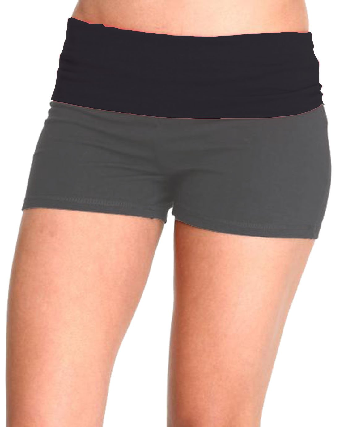 Waist Band Contrast Yoga Fold Over Shorts (Small, Black & Charcoal Body)