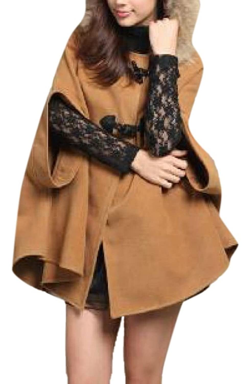 Lingswallow Women Loose Hoodie Poncho Cape Cloak Coat Wool Overcoat