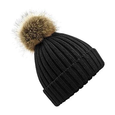 WOMEN S FAUX FUR POM POM BOBBLE HAT - Chunky Knit   Ideal Gift   Beanie Hat 3f9d191cee8