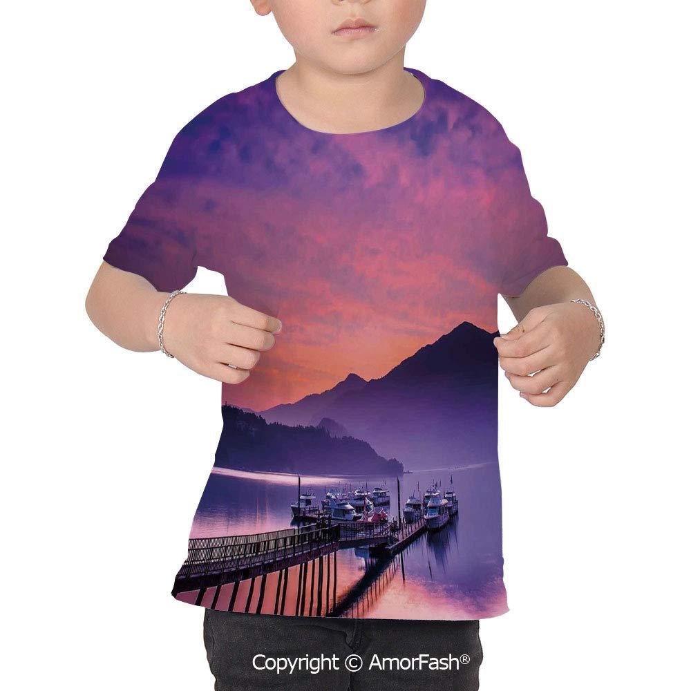 Landscape Decor Childrens Short Sleeve Cool T-Shirt,Polyester,Asian Seashore in