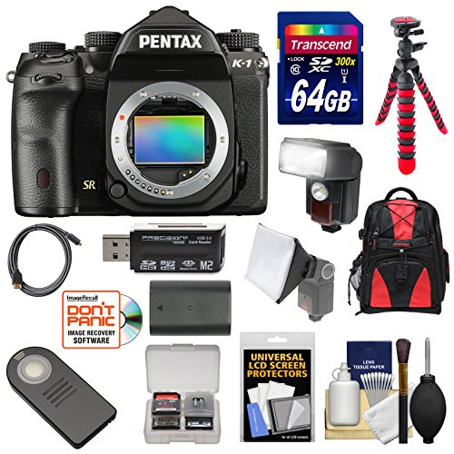 Pentax K-1 Mark II Full Frame Wi-Fi Digital SLR Camera Body with 64GB Card + Battery + Flash + Backpack + Tripod + Kit (Pentax Cable Video)