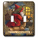 3dRose lsp_172757_2 Santa and Reindeer Facing Window Decorative Gold Leaf and Star Border Light Switch Cover