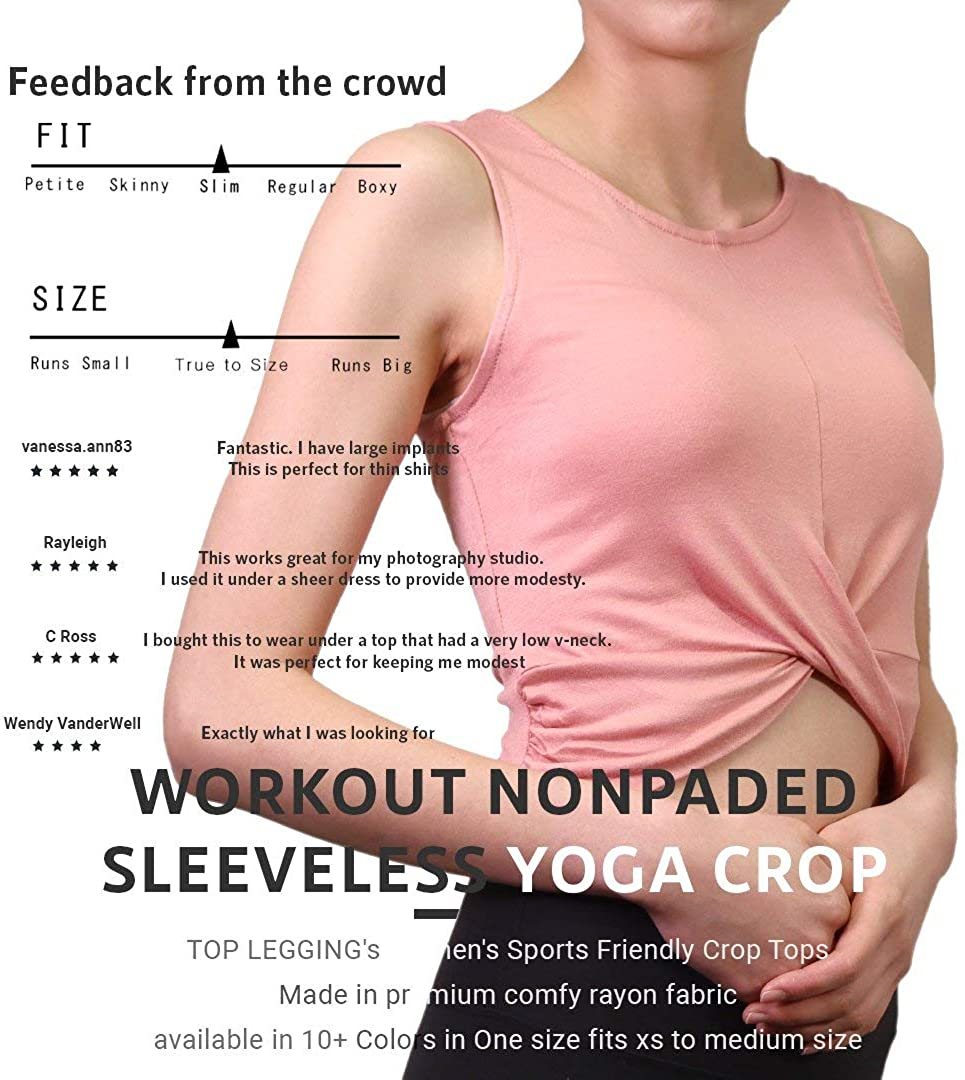 Women Yoga Front Knot Crossover Muscle Tank Crop Top Athletic Gym Workout Shirts