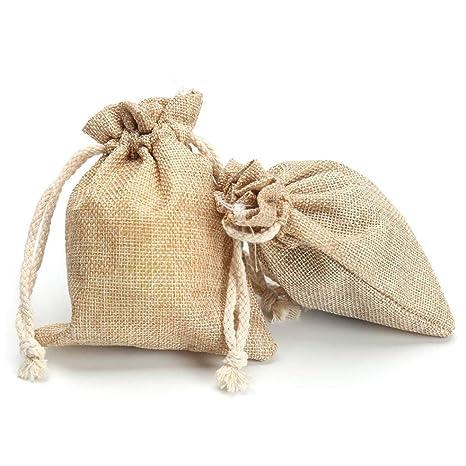 Ancjiape - 2 bolsas de yute de lino y yute, con cordón, para ...