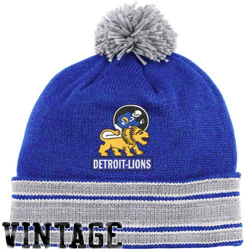 NFL Mitchell & Ness Detroit Lions Throwback Jersey Cuffed Knit Hat - Royal Blue/Silver
