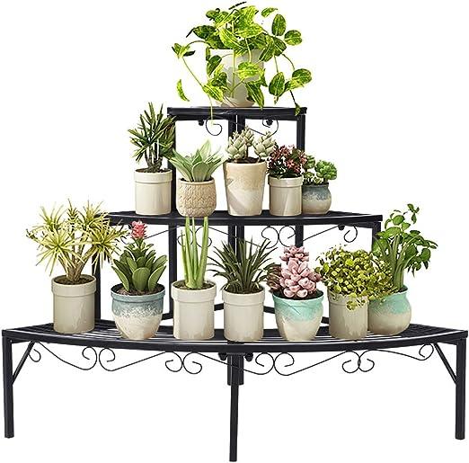 Ejoyous - Estantería de Metal para macetas, Color Negro, Estante para Flores, Escalera para Flores, 3 Niveles, Estante para Interior, balcón, salón, Exterior, jardín, 84 x 60 x 60 cm: Amazon.es: Jardín