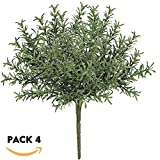 artificial evergreen bushes - besttoyhome 4 Pcs Artificial Rosemary Plants Fake Rosemary Greenery Leaves Bushes Evergreen Shrubs Spray in Green - 9.85