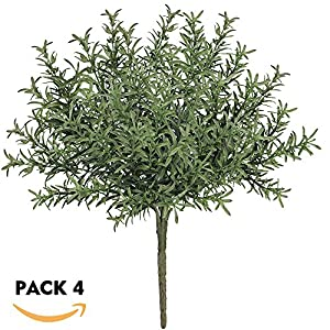 "besttoyhome 4 Pcs Artificial Rosemary Plants Fake Rosemary Greenery Leaves Bushes Evergreen Shrubs Spray in Green - 9.85"" Tall UV Protected Fake Shrubs Grass for Indoor Outdoor Greenery Decor 57"