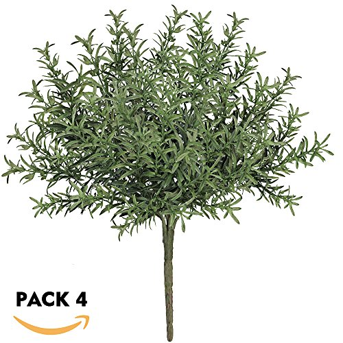 besttoyhome 4 Pcs Artificial Rosemary Plants Fake Rosemary Greenery Leaves Bushes Evergreen Shrubs Spray in Green - 9.85