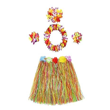 SUPVOX Falda de Hula Hawaiana elástica para niños con diseño de ...