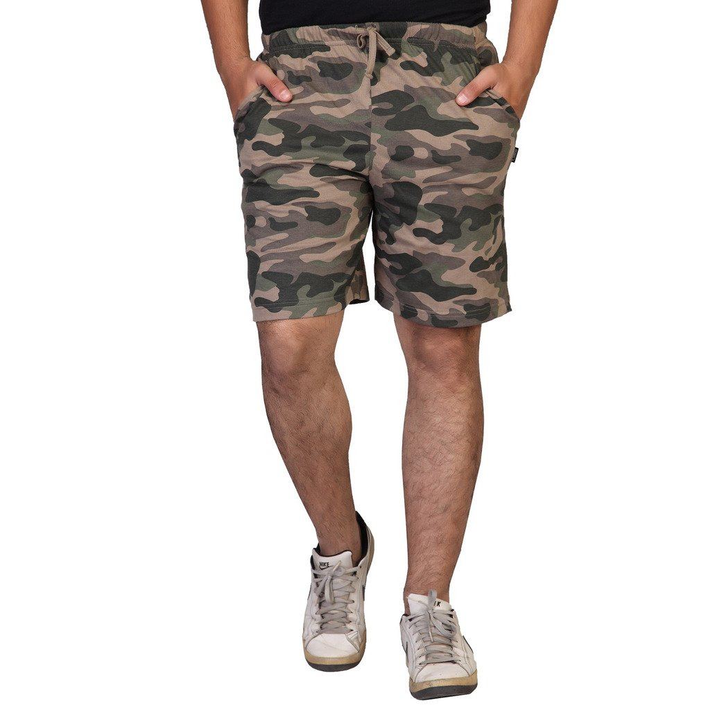 Clifton Fine Jersey Men's Camouflage Printed Shorts - Walnut - Large