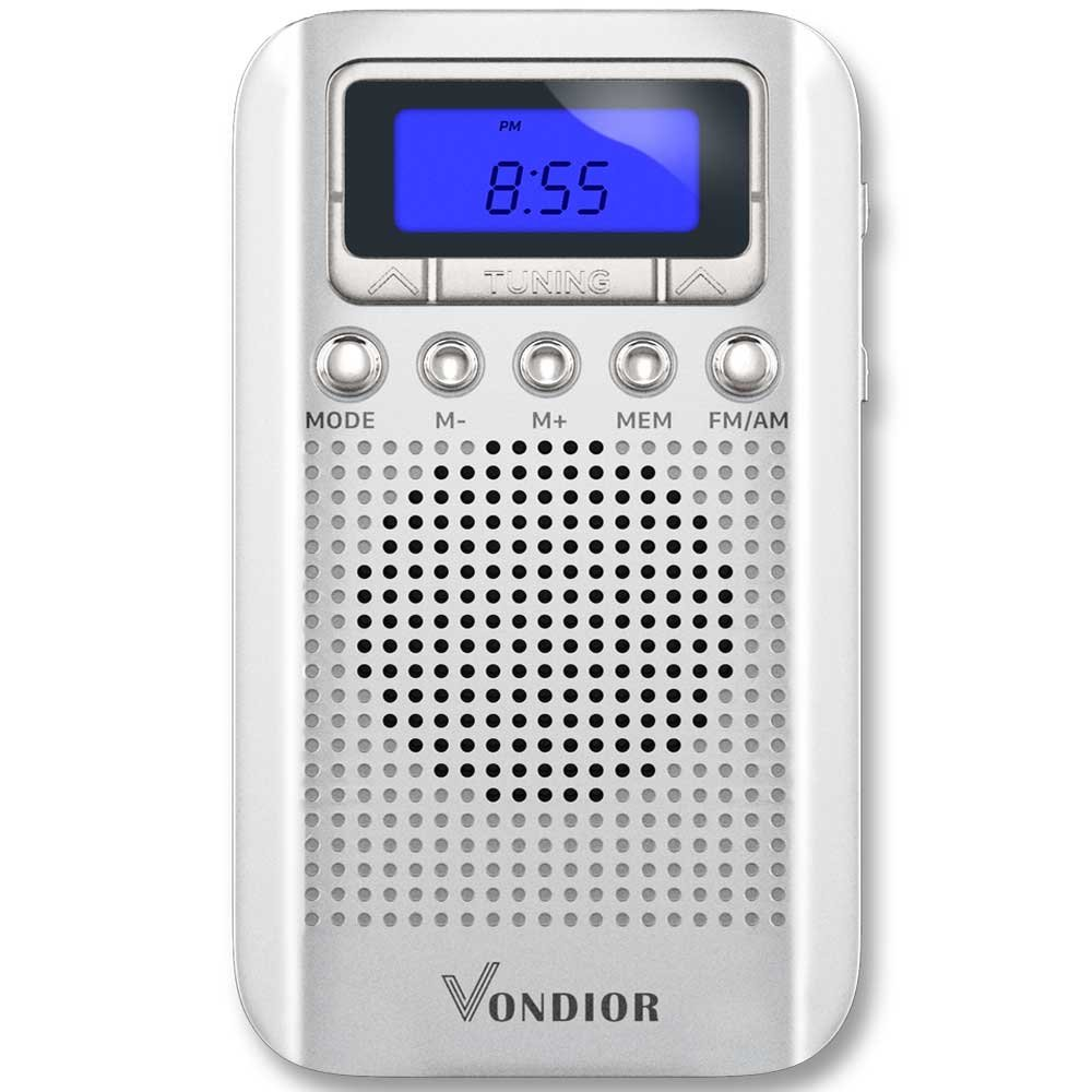 Digital AM/FM Portable Pocket Radio with Alarm Clock- Best Reception and Longest Lasting. AM FM Compact Radio Player Operated by 2 AAA Battery, Stereo Headphone Socket,Perfect Father Gift by Vondior