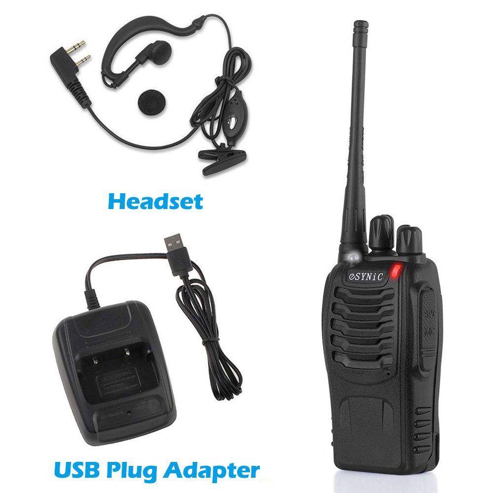 ESYNIC 4 pcs Rechargeable Walkie Talkies Long Range Two Way Radio Walky Talky Earpieces Flashlight 16 Channel FM Handheld Transceiver Support USB Cable Charging ESY66x2
