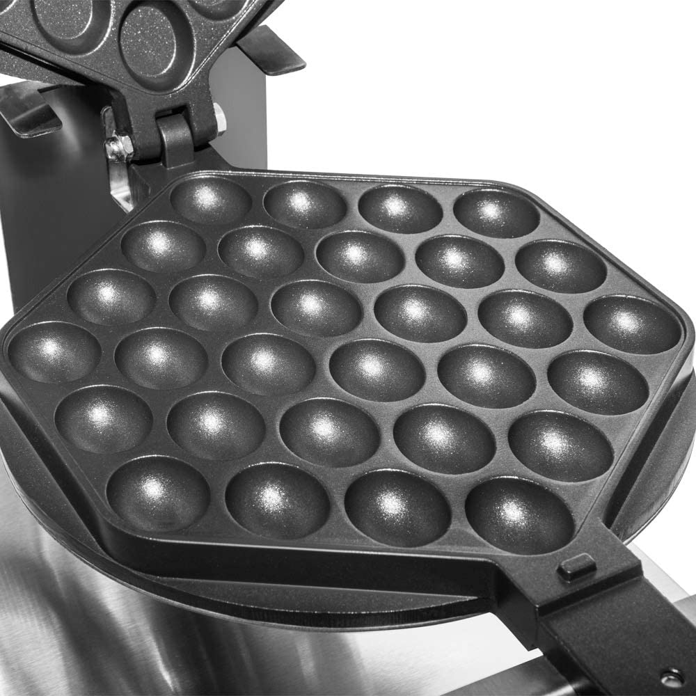 110V 1.4kW Stainless Steel ALDKitchen Bubble Waffle Maker Egg Waffle Iron with Manual Thermostat and Nonstick Coating 1 Large Bubble Waffle