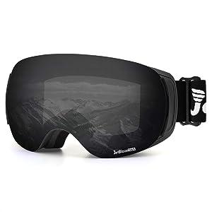 JetBlaze Magnet Interchangeable Spherical Ski Goggles, Anti-Fog UV400 Protection