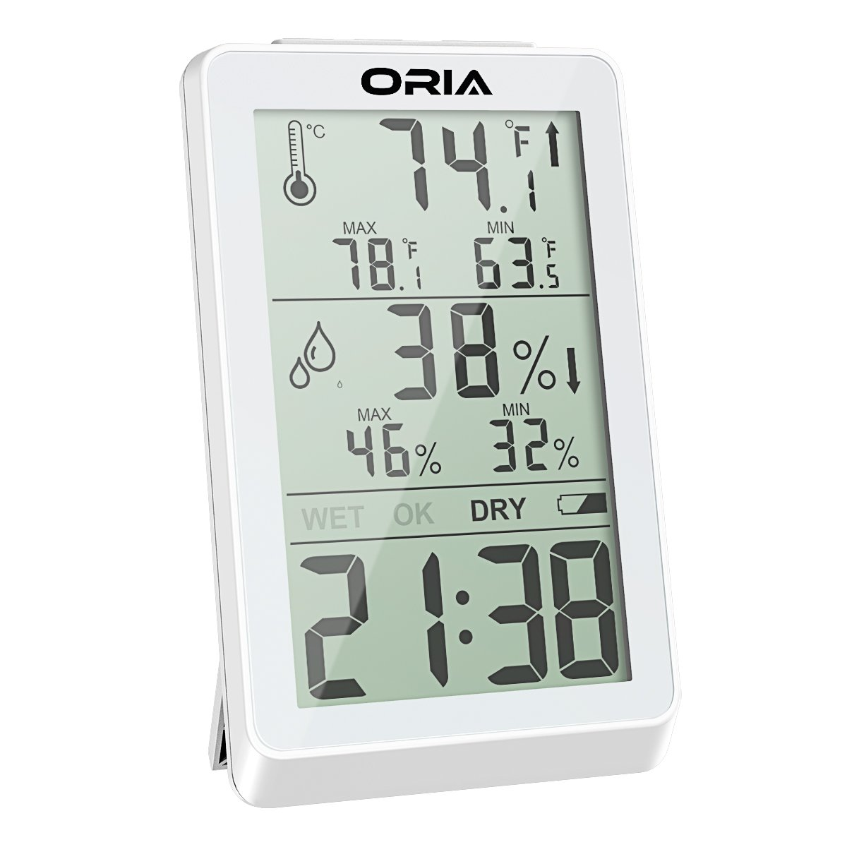 ORIA Digital Hygrometer Thermometer, Indoor Humidity Monitor, Temperature Humidity Meter, Large LCD Screen Gauge Indicator, Min and Max Records, Time Display for Home, Office, Bedroom, Kitchen (White)