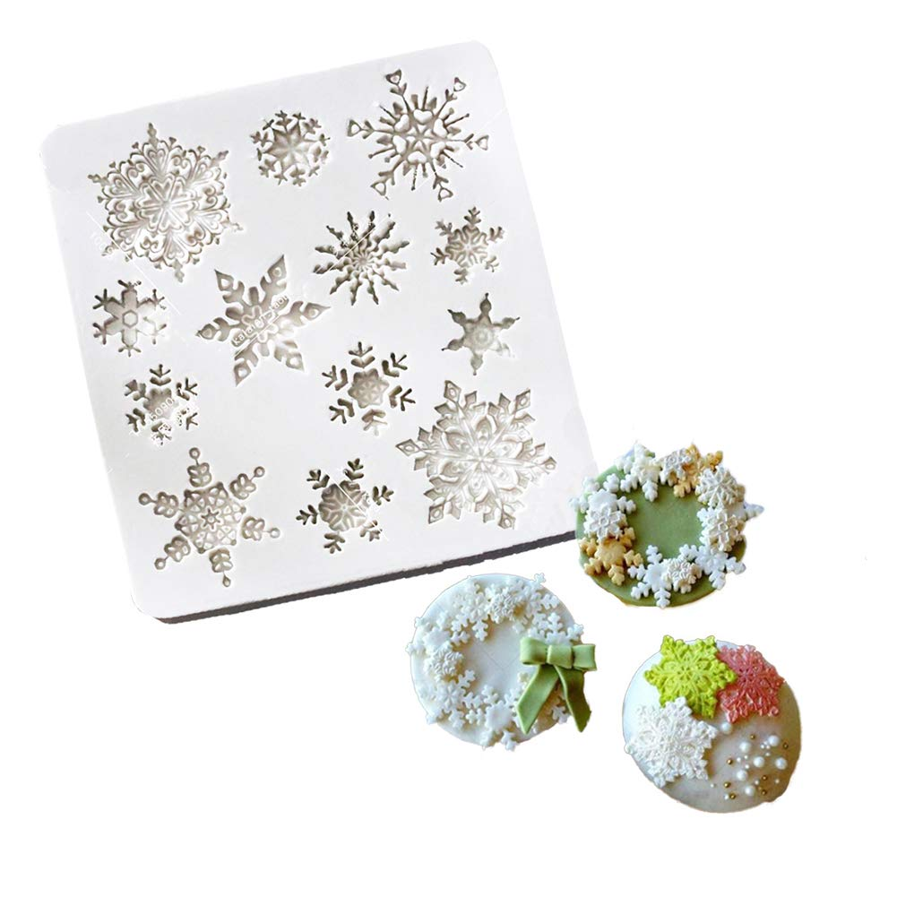 Gum Paste Resin Chocolate SK XH-2 Style 2 Soap Mold Fondant 3D Snowflake Silicone Fondant Cake Mold Chocolate Decoration Tool for Icing