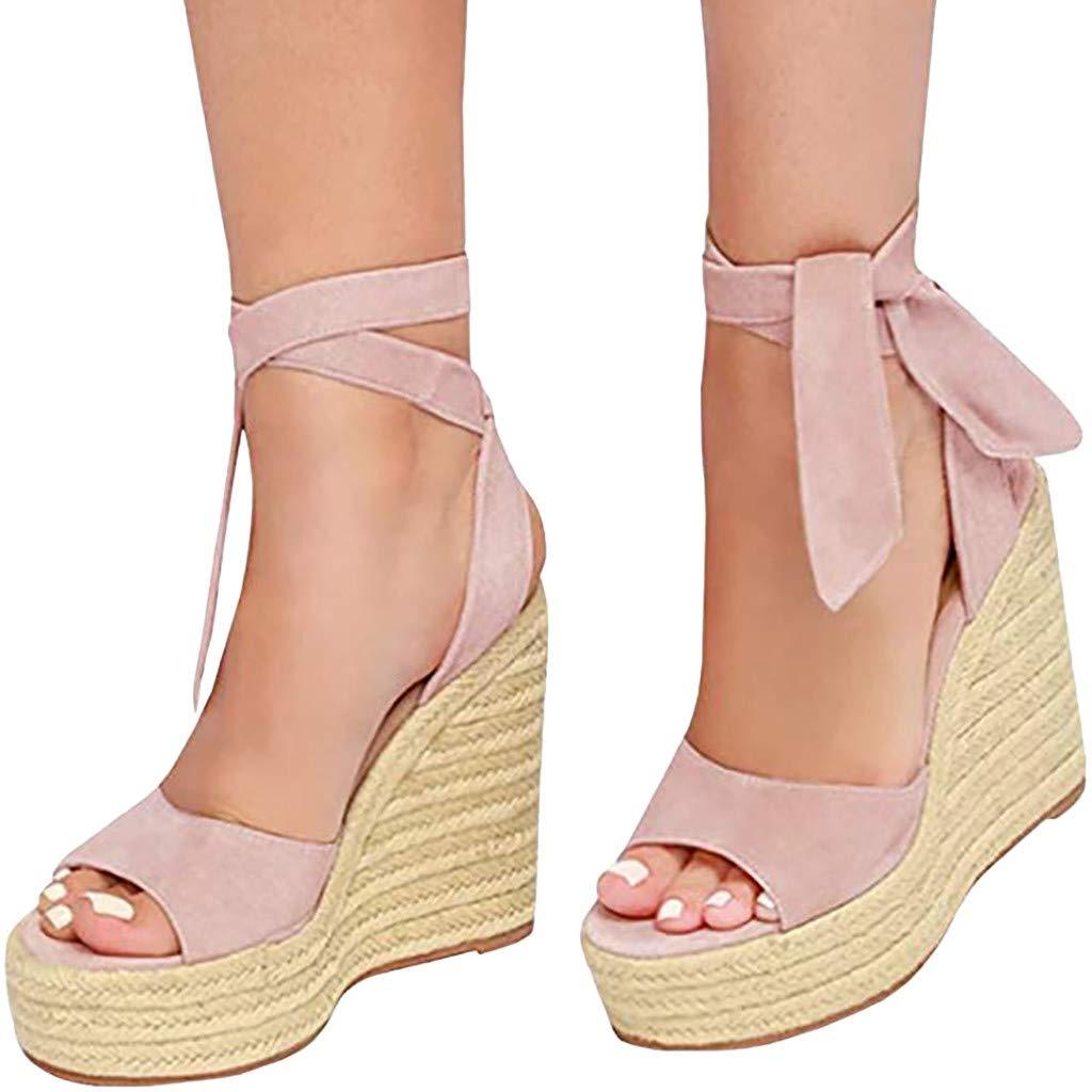 SSYUNO Womens Summer Espadrille Platform Wedge Sandals Strappy Open Toe Beach Dress Comfy Shoes Beige by SSYUNO