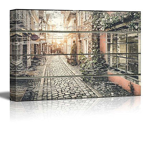 wall26 - Canvas Wall Art - Quiet European Street on Vintage Wood Textured Background - Rustic Country Style Modern Giclee Print Gallery Wrap Home Decor Ready to Hang - 24