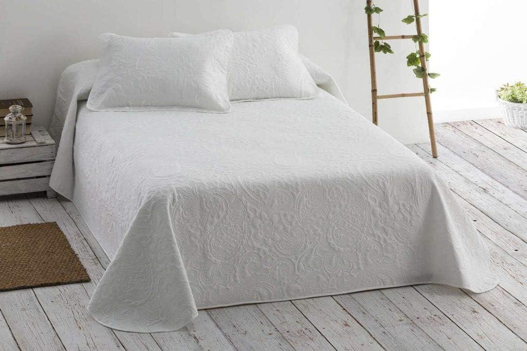 Mercatienda.es Colcha Blanca de Verano Reversible Bergen en Varios tamaños, 220 gr/m2 (Relleno Ligero 80gr/m2) excepcional relación Calidad Precio. (para 150cm-(250 x 260cm)): Amazon.es: Hogar