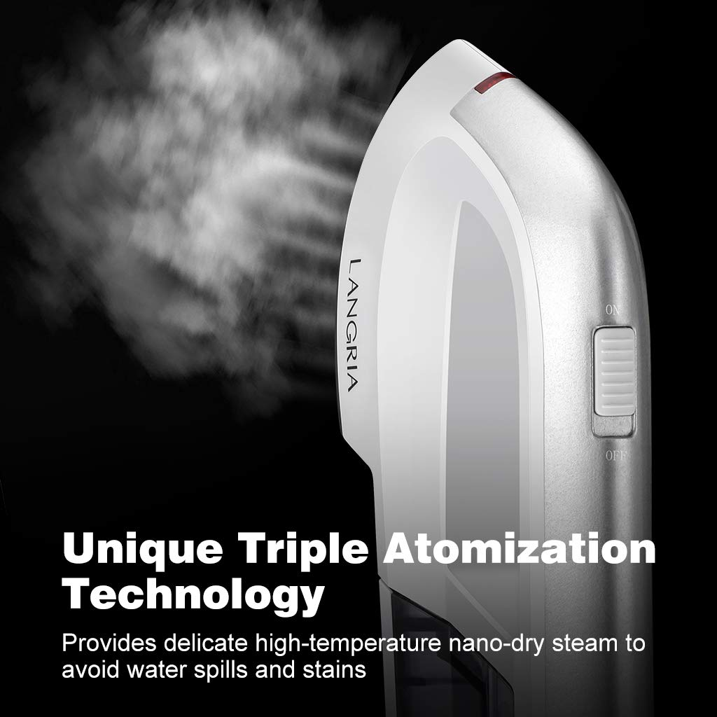 White LANGRIA Iron Garment Steamer Upgrade,60s Fast Preheat,Removable Water Tank,2 in 1 Handheld Flat Ironing and Vertical Steaming,Portable for Home and Travel Use with Carrying Case