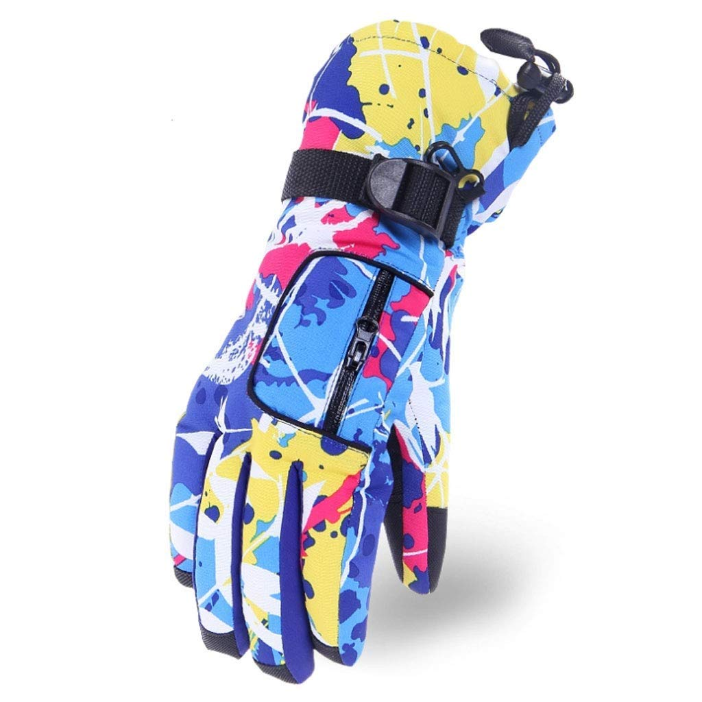 LQQGXL Protective Gloves Gloves Winter Warm Thick Windproof Waterproof Cold Gloves Outdoor Cycling Plus Cotton ski Gloves (Women) (Color : C)