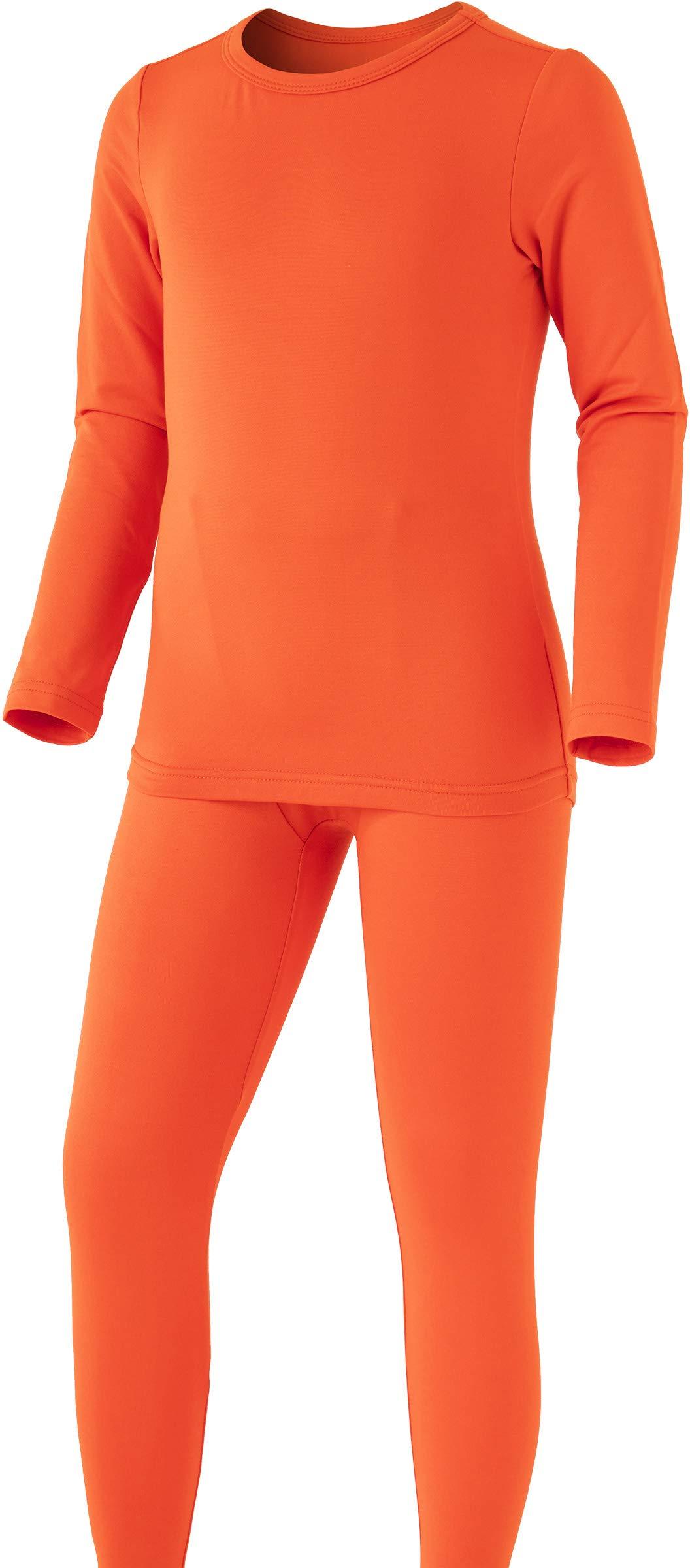 TSLA Boy's Microfiber Soft Fleece Lined Warm Thermal Top & Bottom Set, Boy Set(khs300) - Orange, Large (Height 5ft1in - 5ft5in) by TSLA