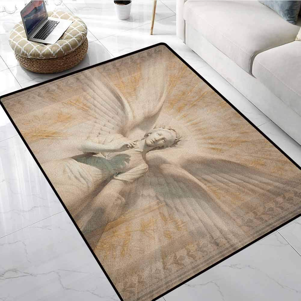 Sculptures Front Door Rugs 1.3x2 ft Statue of Angel Woman in Medieval Cathedral Site Vintage Style Mythical Design Floor mats for Office Chairs on Carpet